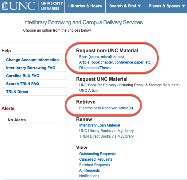 """Screenshot of the UNC Libraries' Interlibrary Loan system. The sections for """"Request non-UNC Material"""" (containing """"Book"""", """"Article"""", and """"Dissertation/Thesis"""") and """"Retrieve Electronically Received Article(s)"""" are highlighted."""